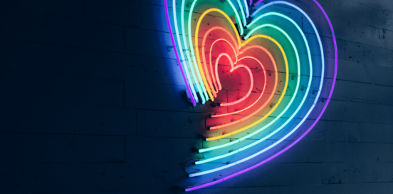 Neon rainbow heart light