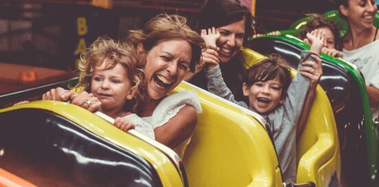 Family on a rollercoaster